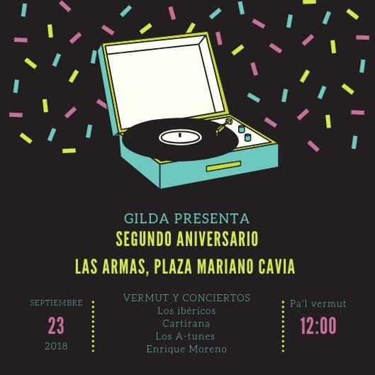 Concierto-vermut este domingo 23 de septiembre en Las Armas: 2º Aniversario del bar Gilda